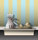 Cat with Litter Box Graphic Royalty Free Stock Photo