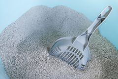 Cat litter box with scoop. Sand cat litter box with scoop stock photos