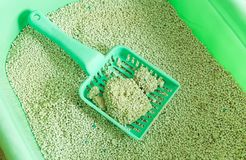 Cat litter box for toilet of cat with green scoop. Cat litter box for toilet of a cat with green scoop Stock Images