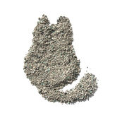 Cat litter isolated. Texture in the form of cats. Stock Image