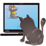 Cat and little mouse on the screen of the notebook Royalty Free Stock Images