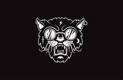 Cat logo illustration. Evil cat. Emblem design on black background. Cat logo illustration. Punk evil cat stock illustration