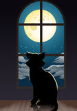 Cat lonely at home. Illustration of a cat lonely at home staring at the moon in room background Royalty Free Stock Images