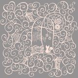 Cat look out the window, hand drawn illustration. Vector. Illustration Royalty Free Stock Photo