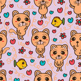 Cat look fish seamless pattern Royalty Free Stock Image