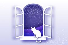 Cat looking through Origami window framer Merry Christmas holidays and xmas snowy nature. Happy New Year. Blue. Snowfall stock illustration