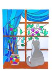 The cat looking out the window - stained glass Stock Images