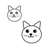 The cat looks out the figure on white background, vector. Round cat s head set illustration in black and white, vector Royalty Free Stock Photos