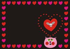Cat Love. Cute Cat in love with a funny mouse on a black background with hearts Royalty Free Stock Image