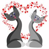 Cat love. Heart  abstraction romance stylized Stock Photography
