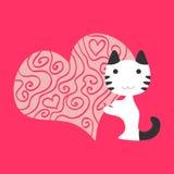 Cat in love. Romantic illustration cat in love stock illustration
