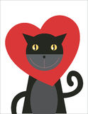 Cat Love. Black cat is wearing heart shaped collar Stock Photo
