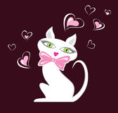 Cat in Love. White cartoon female cat illustration. Without gradients Royalty Free Stock Photography