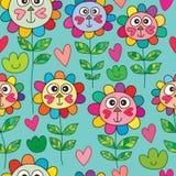 Cat love cute flower head seamless pattern Stock Photos