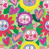 Cat Love Everything Cute Seamless Pattern Royalty Free Stock Photos