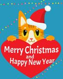A Cat In Love. Happy New Year Card With Cat Vector. Christmas Kitty With Red Santa Hat. Royalty Free Stock Photos