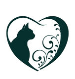 Cat love heart logo. Abstraction of animal care Concept of friendly pets, veterinarian business, animal welfare,animal rescue,animal breeder vector illustration