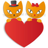 Cat in love - Illustration,  Royalty Free Stock Image