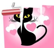 Cat Love Indicates Dating Heart y romance ilustración del vector