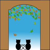 Cat in love looking out of the gate. In autumn. vector Illustration Stock Image