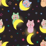 Cat love with moon seamless pattern. This illustration is design abstract love cat with crescent moon and decoration colorful stars in black color background Stock Photo