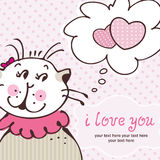 Cat in love on pink card Stock Photography