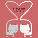 Cat love romantic card Stock Photo