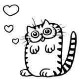 Cat in Love on Valentine`s Day Vector Illustration Stock Photo