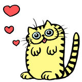 Cat in Love on Valentine`s Day Vector Illustration Royalty Free Stock Image