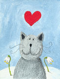 Cat in love on Valentines day. Acrylic illustration of Cat in love on Valentines day Royalty Free Stock Photos