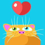 Cat in Love Vector Illustration Stock Images