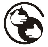 Cat lover. Illustration of hands hug a black cat Royalty Free Stock Photos