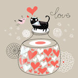 Cat lover. Card with a fun loving cat in the bank on a brown background Stock Image