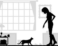 Cat lover. Editable vector silhouettes of a woman and cat at home Stock Photo