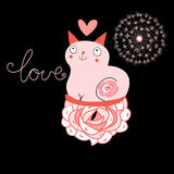 Cat lover. Love funny cat on a black background with heart Stock Photography