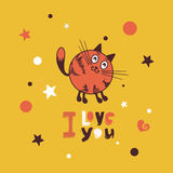 Cat lover. Cute hippopotamus in love romantic. Vector illustration Royalty Free Stock Image