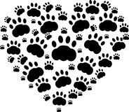 Cat lover. Heart of black cats paws Royalty Free Stock Photography