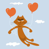 Cat lover. Love cat flies on balloons in the form of heart Stock Photography