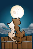 Cat lover in love. Illustration of a cat lover in love on nature background Stock Photo