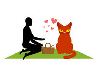 Cat lover on picnic. my kitty. blanket and basket for food on la. Wn. Romantic date in Park Stock Photo