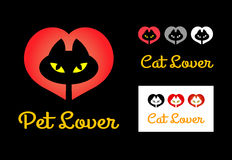 Cat lover symbol. Cute cat with yellow light eyes and red heart gradation symbol. Good use for pet shop logo, symbol, cat lover event, or any design you want Stock Photos
