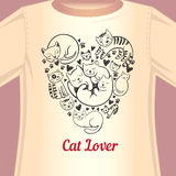 Cat lover T-shirt. Stylish print with cats in the form of heart for the fan of cats Royalty Free Stock Images