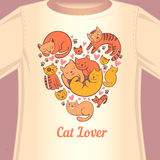 Cat lover T-shirt. Stylish print with cats in the form of heart for the fan of cats Stock Photo