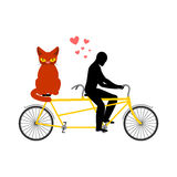 Cat lover on tandem. my kitty. Lovers of cycling. Man rolls bicy. Cle. Pet and guy. Romantic date Royalty Free Stock Photography