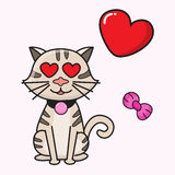 Cat lover vector cartoon. For valentine`s day Stock Photography