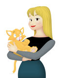 Cat Lover. Woman carrying cute orange cat Royalty Free Stock Photography