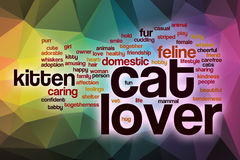 Cat lover word cloud with abstract background Stock Photo