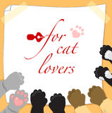 For cat lovers page with paws Stock Images