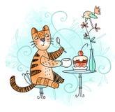 Cat loves dessert Royalty Free Stock Images