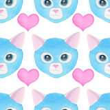 Cat luchador, seamless watercolor pattern Royalty Free Stock Photography